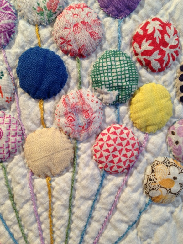 Detail, The Balloon Quilt, maker unknown, circa 1930. Donated by Olga Keesling. Courtesy the Latimer Quilt & Textile Center.