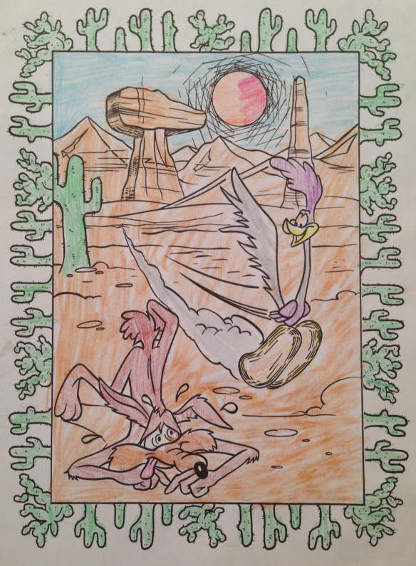 Wile E Coyote and Road Runner. Lines by Chuck Jones, colors by my sweet son.